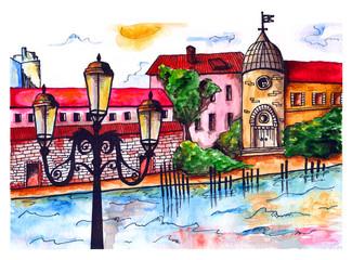 Watercolor wonderful town