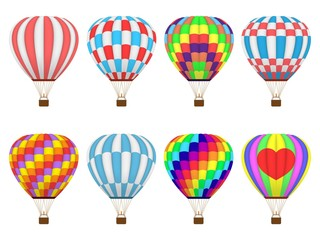 Set of colorful hot air balloons or aerostat,  isolated on white background.