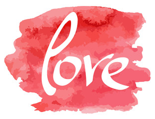 Hand made lettering word Love on watercolor imitation color splash over white background.