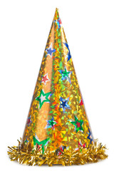 Yellow party hat isolated