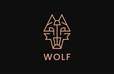 Wolf Logo Design Template. Line symbol animal.