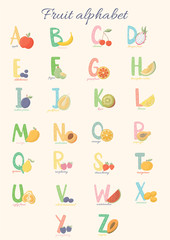Fruit alphabet from A to Z. Fruit alphabet. Colorful alphabet for children.