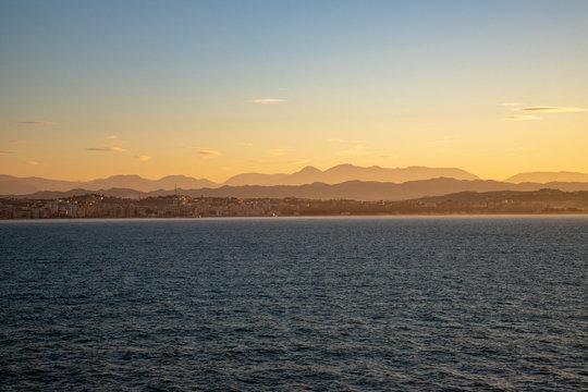 Sunrise on the Albanian coast, port of Durres