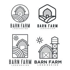 farmhouse logo, agriculture vector, black emblem, natural product, Simple Minimalist Barn Farm Logo design inspiration