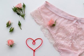 Pink lingerie panty. Fashion cloth, lingerie. Concept of love.