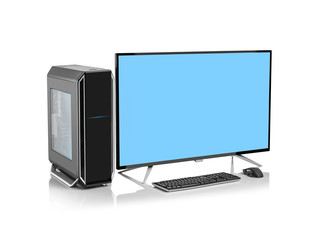 Desktop computer and keyboard and mouse on white background. Blue background on the screen monitor.