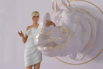 beautiful girl and her rhino