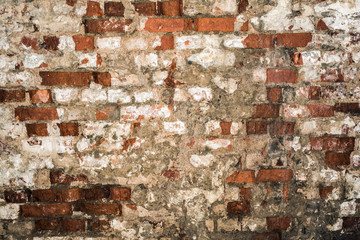 texture of old brick wall, destroyed antique brickwork, architecture abstraction background