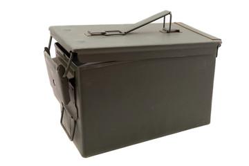 Green metal ammo box on white background