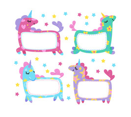 Cute unicorns frames collection.