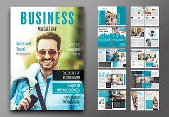 Business Magazine Layout with Teal Accents