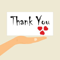International Thank-You Day.A message on the palm of your hand
