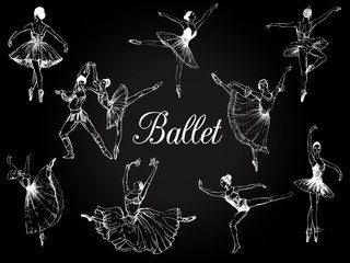 Big set of hand drawn sketch style abstract ballet dancers isolated on black background. Vector illustration.