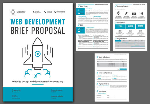 Web Development Brief Proposal Layout with Blue Accents