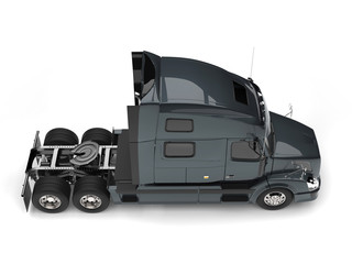 Dark slate gray modern semi trailer truck - top down view