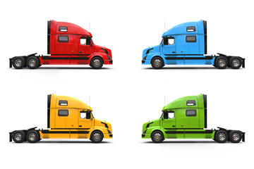 Modern semi trailer trucks - blue, yellow, red and green