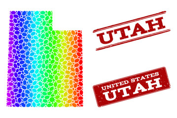 Spectrum dotted map of Utah State and red grunge stamps. Vector geographic map in bright spectrum gradient colors on a white background.