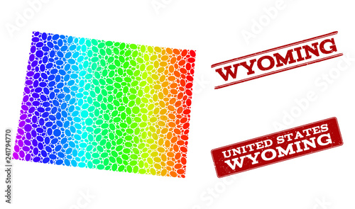 Spectrum dotted map of Wyoming State and red grunge stamps. Vector ...