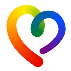3d contour heart shape in lgbt (lesbian, gay, bisexual, transgender) rainbow flag vibrant colorful colors isolated on white background. stock vector illustration clipart