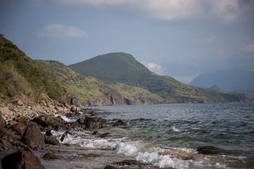 View from the beach in St. Kitts in South Friars Bay