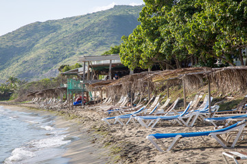 Enjoying the atmosphere at a local beach bar in St. Kitts