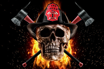 Firefighter skull and axe in fire on a black background. Photo manipulation artwork, 3D rendering.