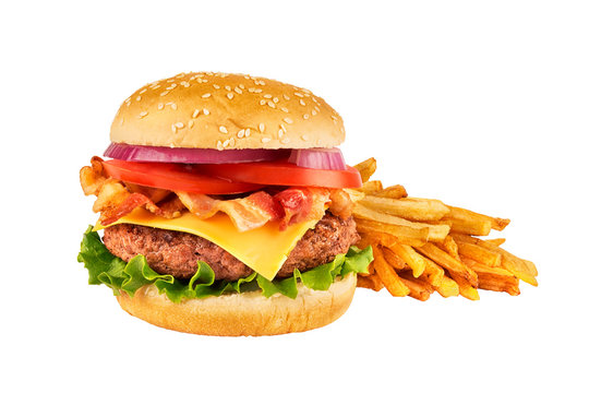 Cheeseburger with beef patty, bacon and french fries, isolated on white background. Real close up.