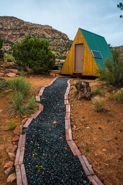 Tiny A-frame cabin in Southern Utah desert wilderness