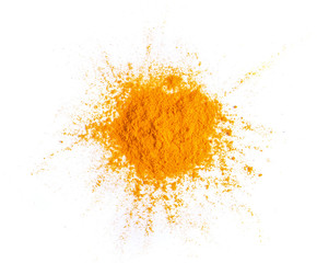 Tuinposter Aromatische Turmeric (Curcuma) powder pile isolated on white background, top view