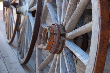 Antique wooden carriage wheels