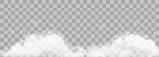 Soap foam and bubbles on transparent background. Vector illustration