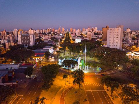 Anoitecer em Cascavel - Praça do Migrante3