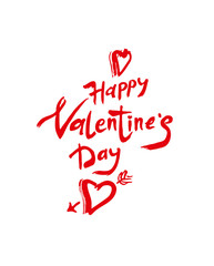 Happy Valentine's Day. Red handwritten inscription and heart arrow isolated on white. Sketch illustration for Valentine's day. Vector graphics imitation of drawing with a rough brush.