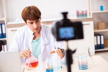 Chemist blogger recording video for his blog