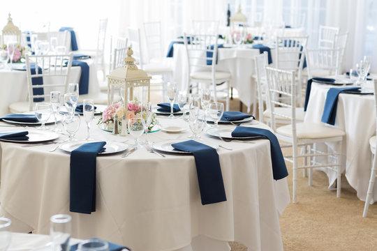 Closeup of wedding reception setup inside