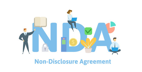 NDA, Non disclosure agreement. Concept with keywords, letters and icons. Colored flat vector illustration. Isolated on white background.