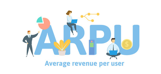 ARPU, Average Revenue Per User. Concept with keywords, letters and icons. Colored flat vector illustration. Isolated on white background.