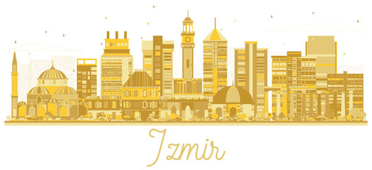 Izmir Turkey City Skyline Silhouette with Golden Buildings Isolated on White.