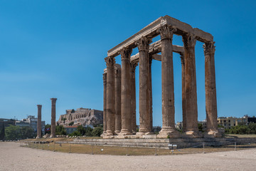 Wide view of the Temple of Olympian Zeus, Athens, Greece in summer