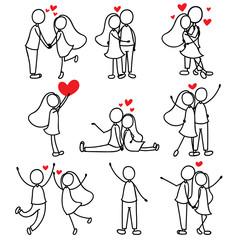 cartoon hand line drawing love character couple