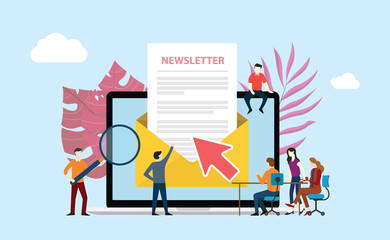 subscribe newsletter with people working together on the screen of laptop
