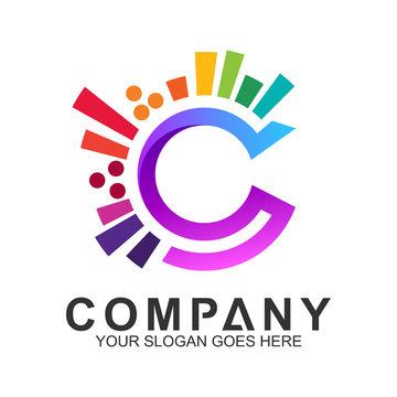 creative letter C logo design, colorful letter C logo