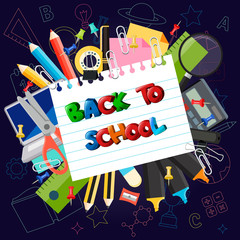 Illustration of back to school background with school supplies