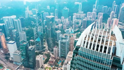 Fototapete - Hong Kong Central district aerial  with cinematic color graded