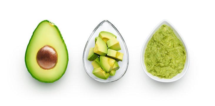 Avocado, cut avocado and avocado spread