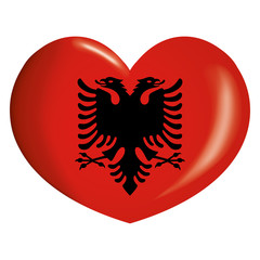 Icon representing button flag heart of Albania. Ideal for catalogs of institutional materials and geography