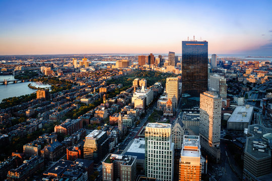 Boston aerial view with skyscrapers at sunset with city downtown skyline, Boston Massachusetts USA