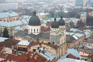 Old European city in the fog. Lviv, Ukraine
