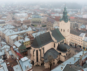 View of Latin Cathedral from height. Lviv, Ukraine