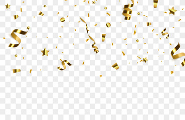 Golden confetti isolated on background.